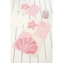 Sada 3 ružových kúpeľnových predložiek Deni...
