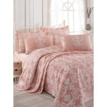 Ružová bavlnená prikrývka na dvojlôžko s pla...
