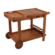 Záhradný servírovací vozík s 2 podnosmi z eukalyptov&am...