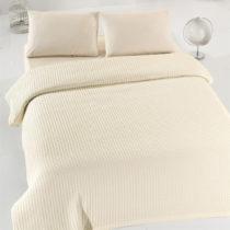 Krémový ľahký bavlnený pléd cez poste&#x1...