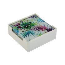 Set stojana a 6 sklenených podložiek pod poháre VERSA Tropical