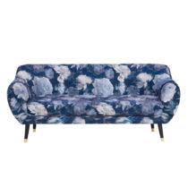 Modrá trojmiestna pohovka Mazzini Sofas Benito Floral