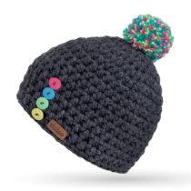 Sivá ručne háčkovaná čiapka s gomb&#xED...