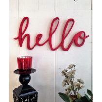 Červená nástenná dekorácia Hello