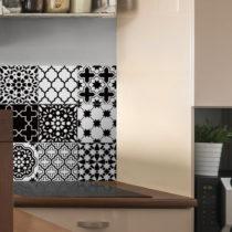 Sada 9 nástenných samolepiek Ambiance Classic Azulejos Black and White Shade, 10 &...