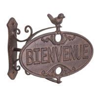 Liatinová ozdobná ceduľa na podstavci Antic Line Bienvenue
