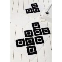 Sada 3 čierno-bielych kúpeľnových predložiek Karo