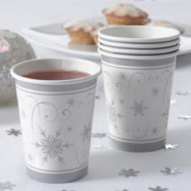 Sada 8 papierových pohárikov Neviti Shimmering Snowlflake
