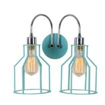 Bledomodrá nástenná lampa Double Cage Drop