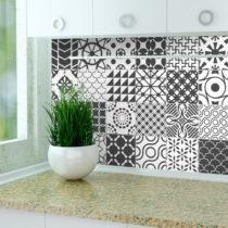 Sada 24 nástenných samolepiek Ambiance Stickers Cement Tile Gray Lindos, 15&#x...