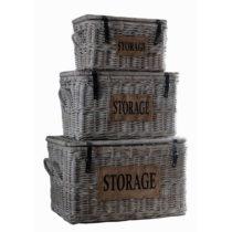 Sada 3 úložných kufríkov z koboo ratanu HSM Collection Tekst