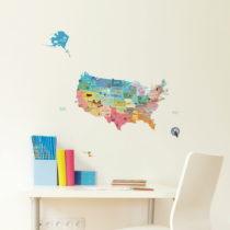 Veľká samolepiaca mapa USA Ambiance, 50×70 cm