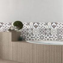 Sada 9 nástenných samolepiek Ambiance Tiles Azulejos Geometric, 10 × 10 c...
