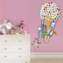 Nástenná samolepka Animal Ride On Air Balloon