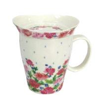 Hrnček z kostného porcelánu s pokrievkou Silly Design English Roses, 330...