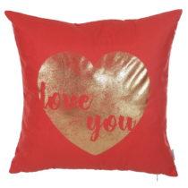 Červená obliečka na vankúš Apolena Shimmering Heart,...