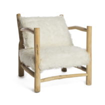 Biele kreslo s konštrukciou z teakového dreva Simla Simple