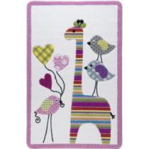 Detský ružový koberec Confetti Giraffe, 133x190&...