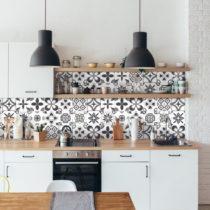 Sada 24 nástenných samolepiek Ambiance Wall Decal Cement Tiles Azulejos Erico, 10&...