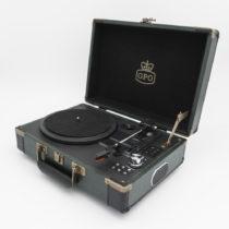 Zeleno-čierny gramofón GPO Ambassador
