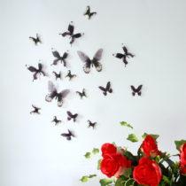 Sada 18 čiernych adhezívnych 3D samolepiek Ambiance Butterflies Chic