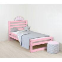 Detská ružová drevená jednolôžková ...