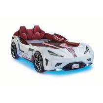 Biela detská posteľ v tvare auta s tyrkysovým osvetlením Fast G...