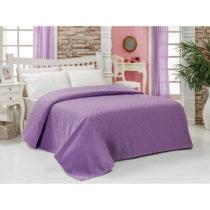 Fialový bavlnený ľahký pléd cez posteľ Parel...