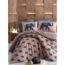 Hnedé posteľné obliečky s prikrývkou na vank&#xFA...