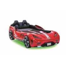 Červená detská posteľ v tvare auta so zeleným osvetle...
