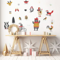 Vianočná samolepka Ambiance Christmas Animals