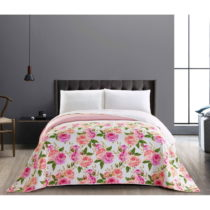 Obojstranný ružovo-biely pléd z mikrovlákna DecoKing English Ro...