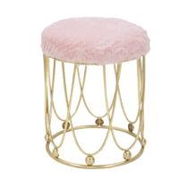 Ružová polstrovaná stolička so železnou kon&#x16...