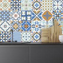 Sada 24 nástenných samolepiek Ambiance Azulejos Ornaments Mosaic, 10 × 10...