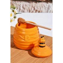 Žltá dóza na med s viečkom Honey