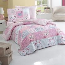 Ružové obliečky s plachtou na jednolôžko Butterfly, ...