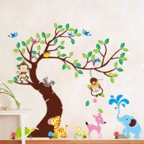 Sada nástenných detských samolepiek Ambiance Tree, Monkeys and Elephant