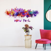 Nástenná samolepka Ambiance Wall Decal New York Design Watercolor, 60 &am...