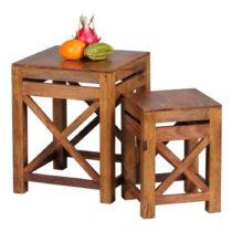 Sada 2 odkladacích stolíkov z masívneho sheeshamového dreva Skyp...