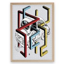 Puzzle z recyklovaných materiálov v bukovom ráme Pucle Autoriek, 500 diel...