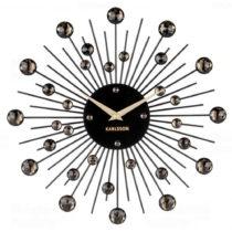 Nástenné hodiny z krištáľu čiernej farby Ka...