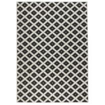 Čierno-biely vzorovaný obojstranný koberec Bougari, 160&#x...