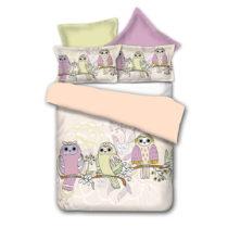 Obojstranné obliečky z mikrovlákna DecoKing Owls Springstory, 135&#x...