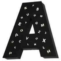 Čierna svetelná dekorácia v tvare písmena Glimte Letter A