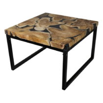Konferenčný stolík z kovu a teakového dreva HSM collection Salo...