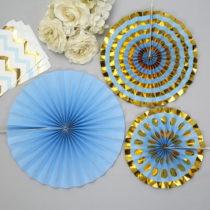 Sada 3 modrých papierových dekorácií Neviti Pinwheel