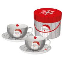 Sada 2 hrnčekov z kostného porcelánu na cappuccino v darčekovo...