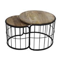 Sada 2 odkladacích stolíkov z mangového dreva HSM collection Salon