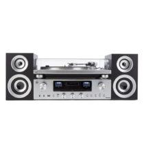 Gramofón a audio systém v striebornej farbe GPO PR100/200 Bundle