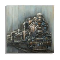 Ručne maľovaný obraz Mauro Ferretti Train, 80 × 80 cm